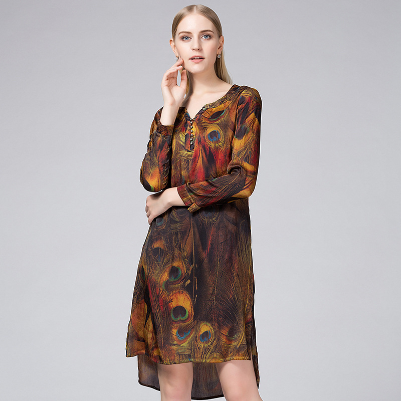 2016 new spring high-grade printing long sleeved V collar silk dress brand silk dress size loose