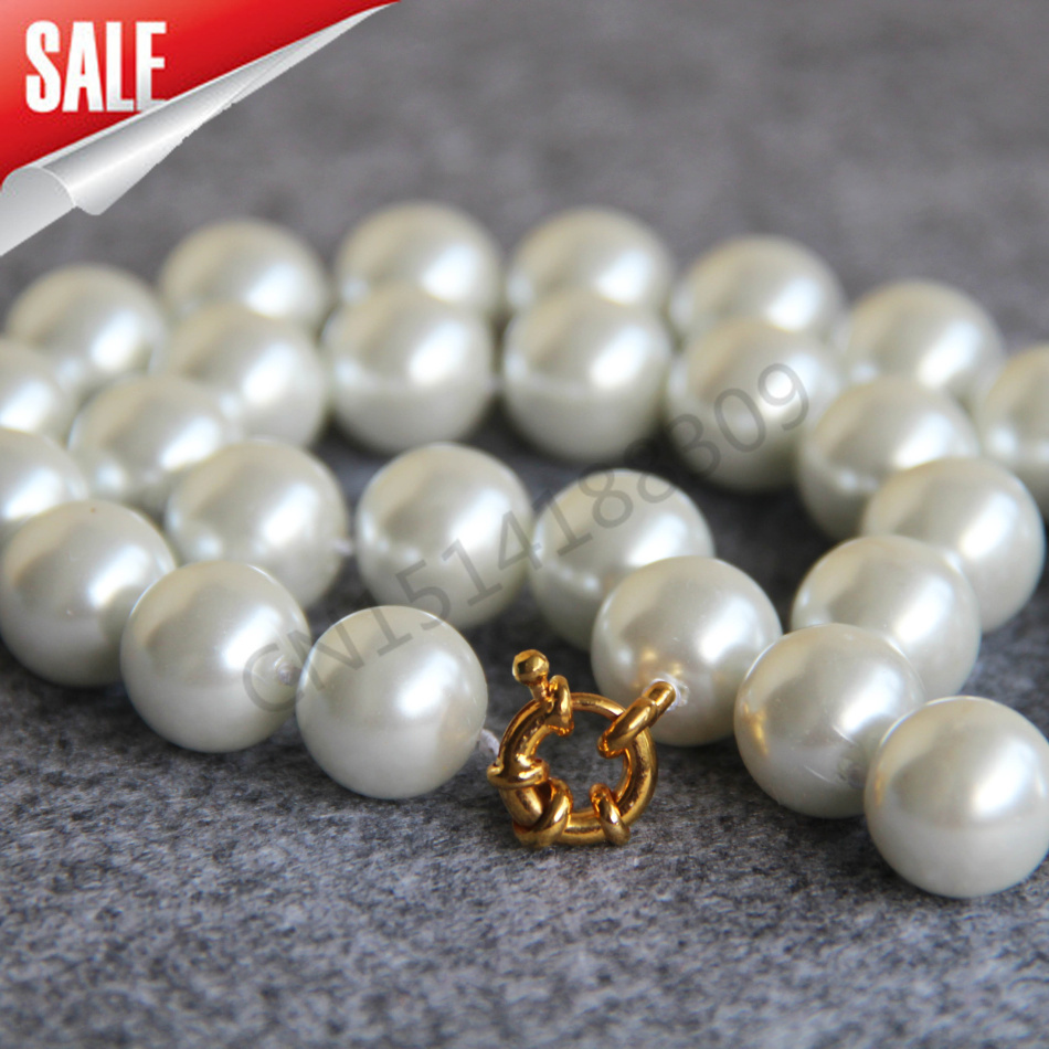 New For Necklace&Bracelet 14mm Round White Shell pearl beads Necklace women girls gift Jewelry making design 18inch wholesale(China (Mainland))