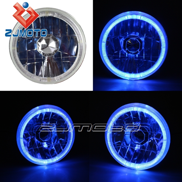 """ZJMOTO H4 12V Angel Eyes Blue LED Halo Headlight Custom Crystal Clear Halogen Round Front Head Light For 5"""" Motorcycle Or Car(China (Mainland))"""