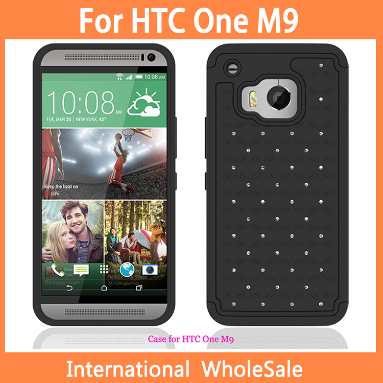 2015 New arrival For HTC One M9 Case,PC+Silicon Black Diamond Cover Case For HTC M9 Wholesale 100pcs/lot(China (Mainland))