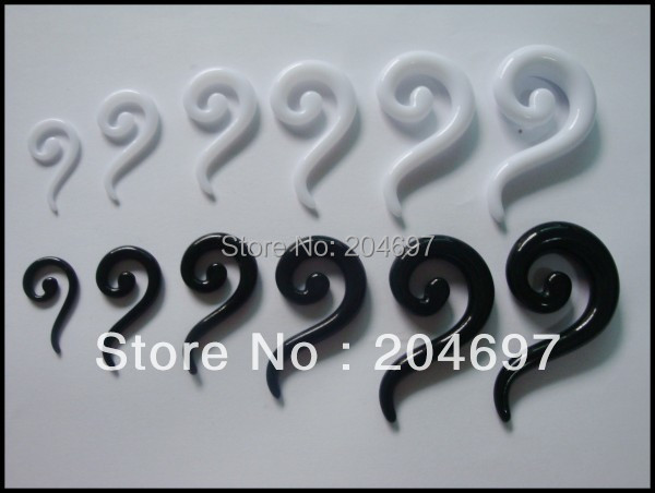 Black & White Acrylic Ear Expanders Spiral Ear Taper Expander Stretcher Stretching Ear Plugs Piercing Body Jewelry Mix 120pcs