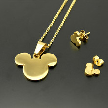 316L stainless steel Bear Pendants Necklaces earrings For Women's,18k Real Gold Vacuum Plated jewelry sets 2 years warranty(China (Mainland))