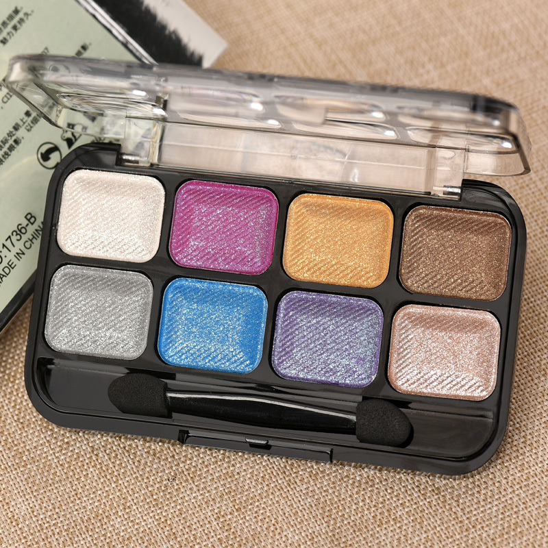 The new eight-color eye shadow earth colors smoked makeup water is not easy blooming shining pearl eye shadow with a brush(China (Mainland))