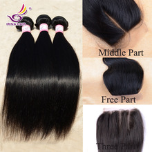 Rosa straight malaysian human hair 3pcs virgin hair with 1pc lace silk base closure malaysia hair weave bundle middle/free/3part