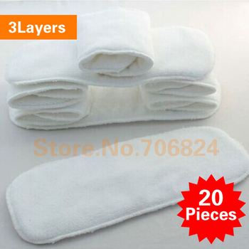 20 pcs 3 layers Inserts Microfiber Cotton Soft Baby Nappies Washable Reuseable Baby Cloth Diapers Nappy