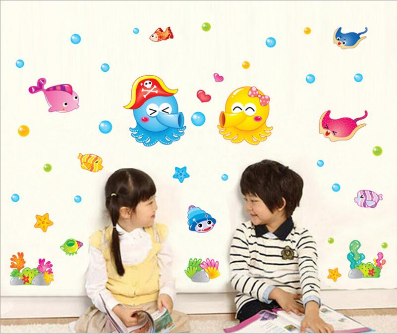 Kids Room Wall Sticker home Decor Cartoon Colorfull Seaworld Home Decoration room Decals Wall Art Sticker wallpaper