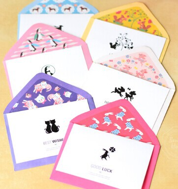 Wholesale (18 sets/lot)6 lovely animal designs LOMO Style Greeting Cards Blessing cards and envelopes Set <br><br>Aliexpress