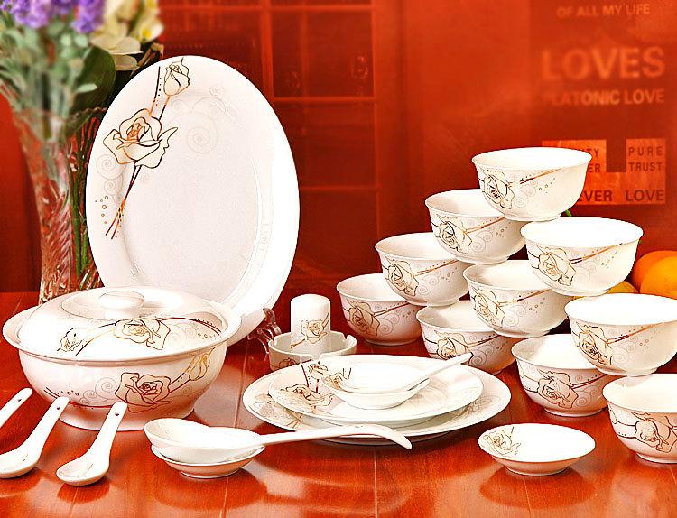 56 bone china tableware suit Korean dish Jingdezhen ceramics upscale wedding gift free shipping(China (Mainland))