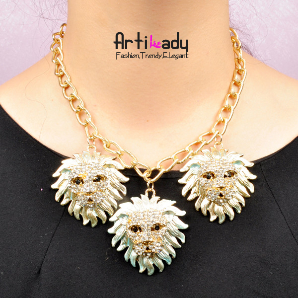 Arilady 2013 fashion 18k gold lion necklace chain necklace spring 18k gold jewelry punk desgin