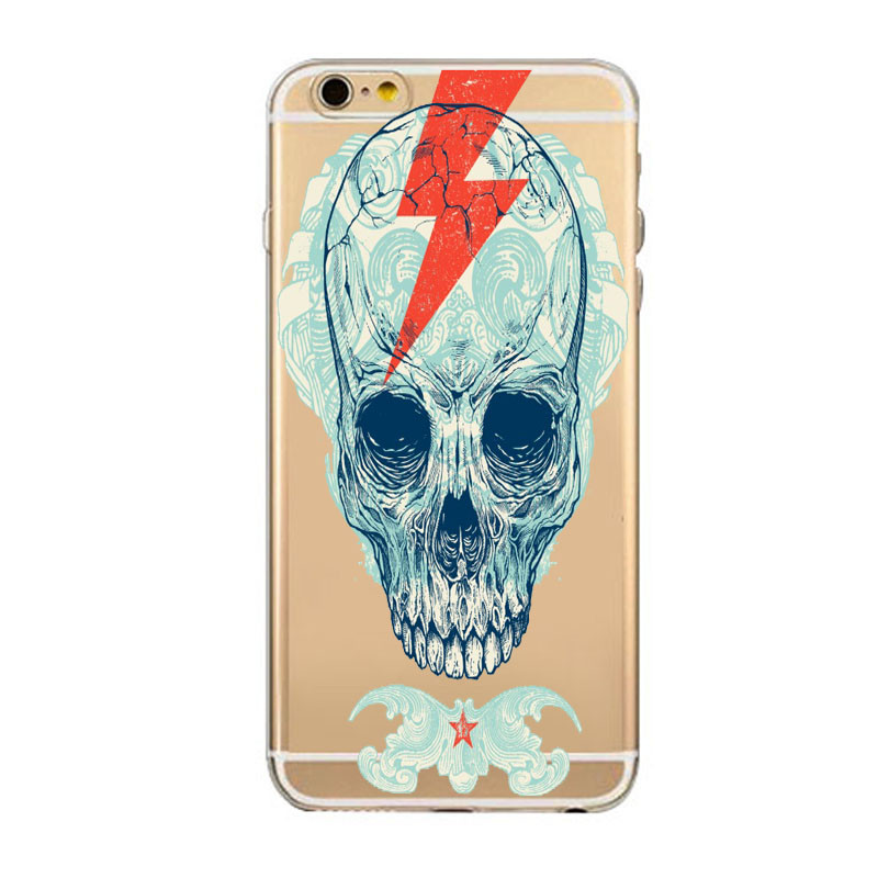 Man's Skull Animals Mobile Phone Back Cover Bags Coque For iphone 5 5C 5S Case 6 6s Plus Soft Silicon TPU Protect Fundas Shell