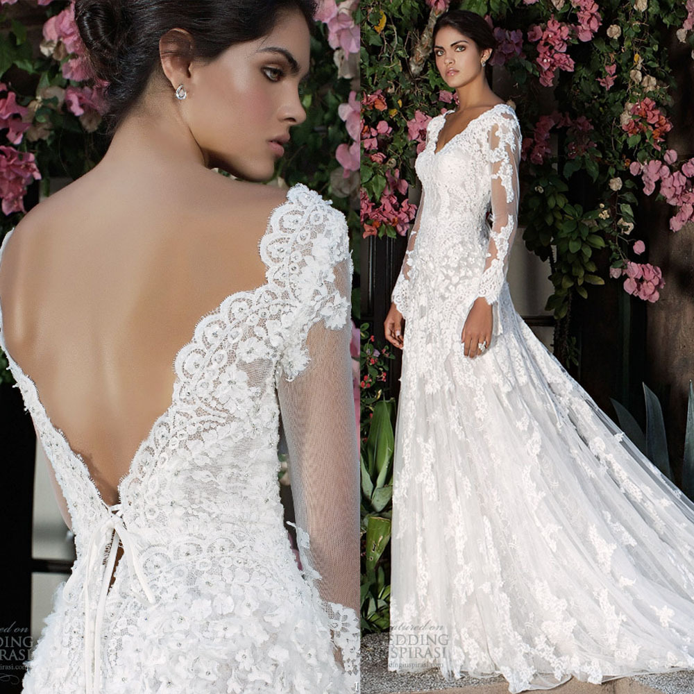 Buy elegant design a line v neck long for Lace wedding dresses open back