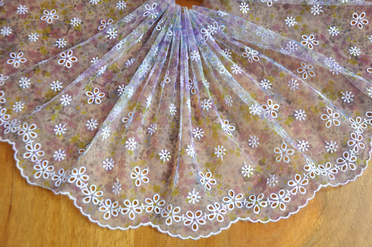 6meter/lot 24cm Small Flower Purple Emebroidered Garment Tulle Trimming Lace Hollow Eege Wholesale Price Z160