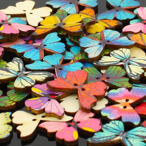 50pcs 2 Holes Mixed Butterfly Wooden Buttons Sewing Scrapbooking DIY 1T14(China (Mainland))