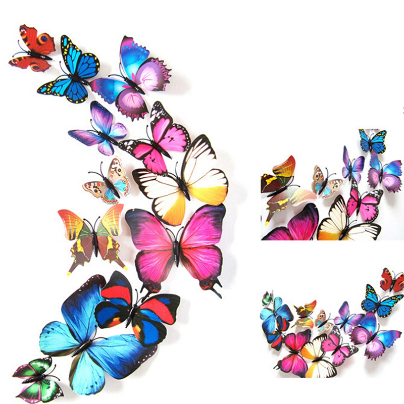 5Set/LOT Colorful Butterfly Wall Stickers 3D Butterfly Wall Stickers Magnet Wall Stick Creative Home Decorations