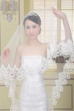 2015 Foto Reali abito Da Sposa Lungo Velo di Pizzo Mantiglia Velo da sposa Accessori Da Sposa Veu De Noiva BV-05(China (Mainland))