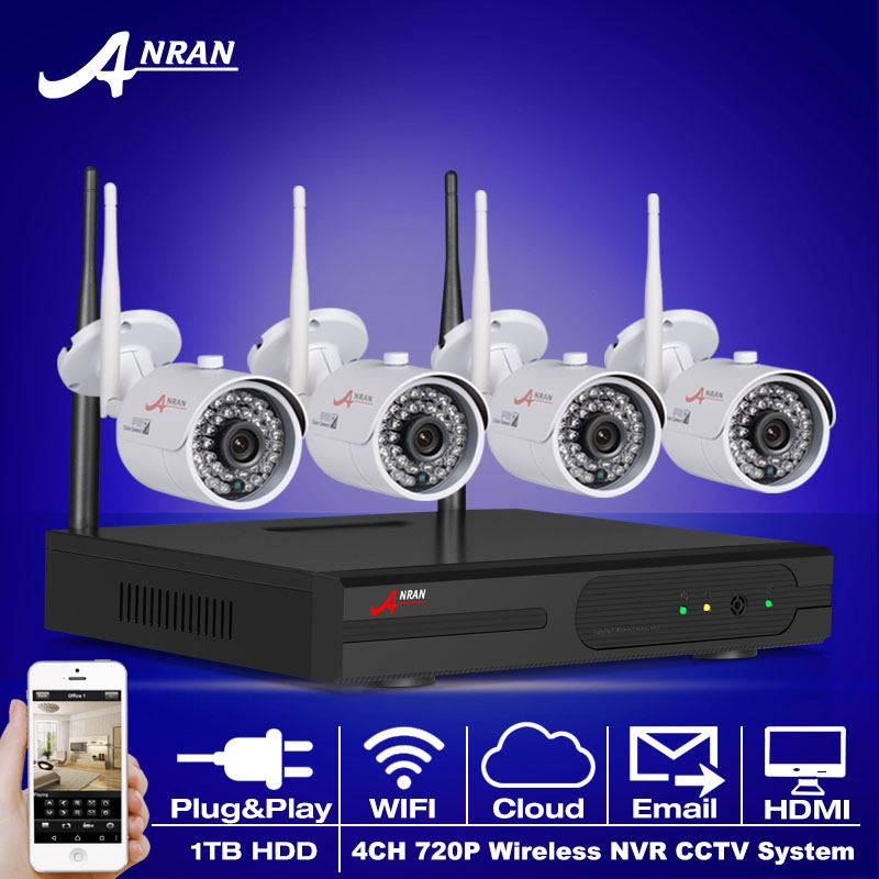 Plug And Play 4CH Wireless NVR CCTV Kit P2P 720P HD WIFI Mini Camera Moble Remote Home Security Video Surveillance System 1TBHDD(China (Mainland))