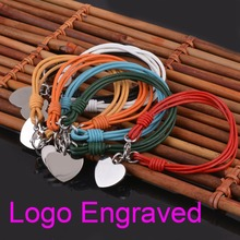 Name Engraved 316L Stainless Steel Cord Heart ID Bracelet Customized Gift Engraved  Bracelet Jewelry(China (Mainland))