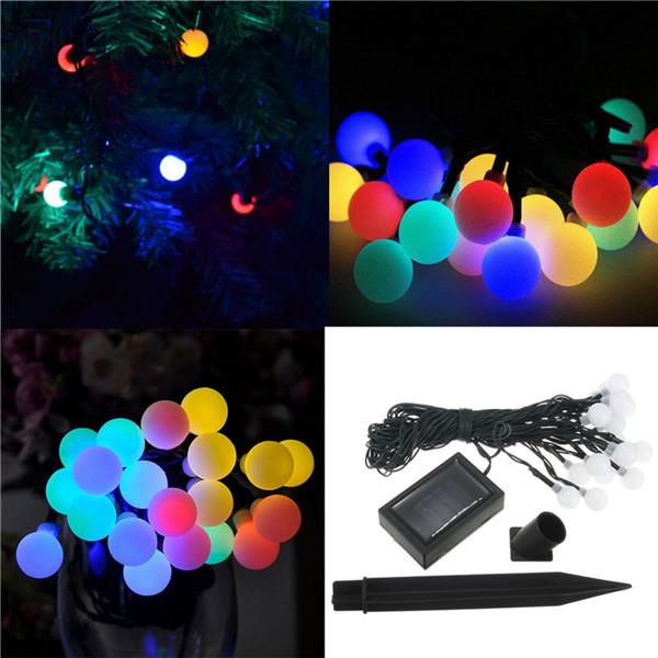Multi-Color Solar Power 20 LED Ball Light Fairy String/Xmas/Wedding/Decoration Lighting