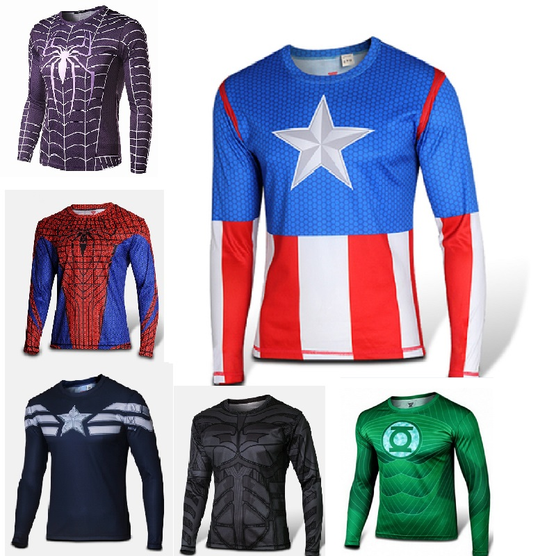 Marvel Super Heroes Avenger Batman sport T shirt Men Compression Armour Base Layer Long Sleeve Thermal Under Top Fitness XS-8XLОдежда и ак�е��уары<br><br><br>Aliexpress