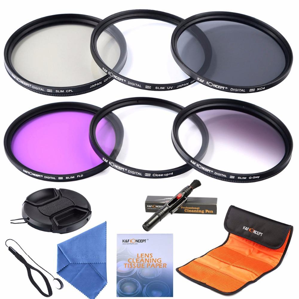 55mm slim UV CPL FLD ND4 Filter lens kits+slim Graduated Grey Colour +Macro Close Up +4 lens filter for Nikon DSLR(China (Mainland))