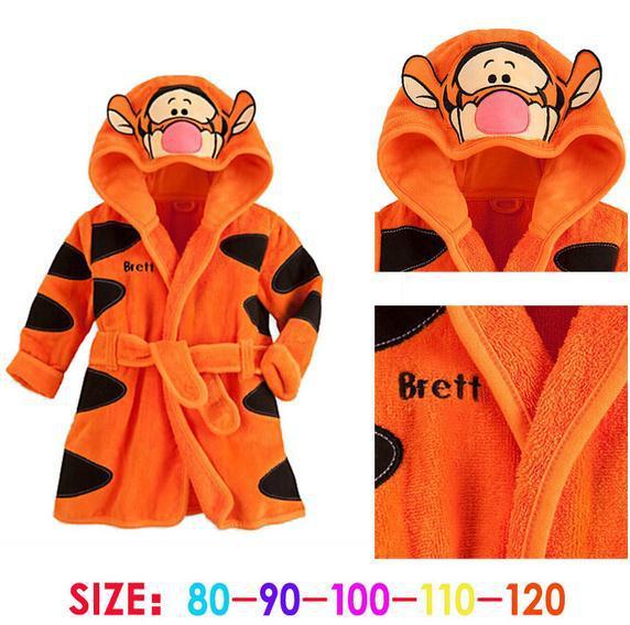 New autumn baby boy girl bathrobes orange long sleeve hooded tigger bathrobes kids boys girls bathrobes 5pcs/lot<br>