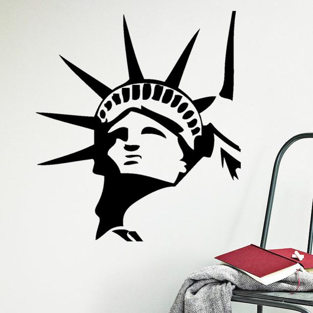 Статуя свободы стены стикеры 267 нью-йорк стены искусства наклейки пвх виниловые фрески домашнего декора обои pegatina DIY сайт