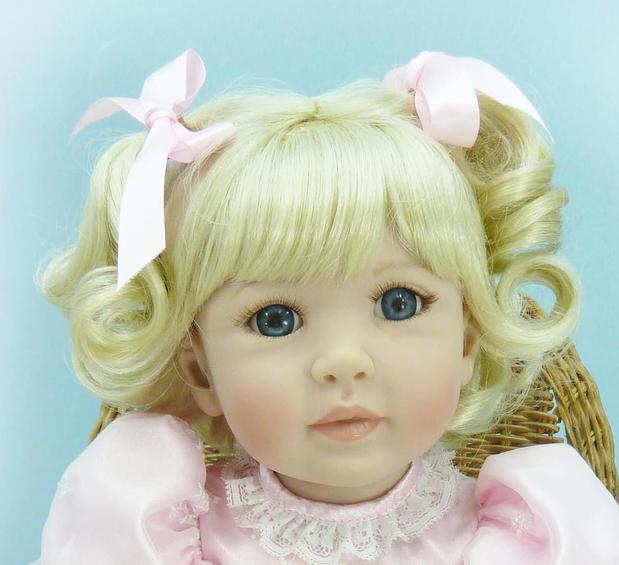 20 inch 50cm Silicone baby reborn dolls Children's toys beautiful blue eyes and blonde hair girl(China (Mainland))