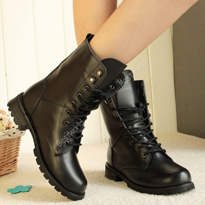 2015 Fashion New Womens Low Heel Combat Gothic Punk Ankle Shoes Lace Up Short Boots 37-41(China (Mainland))