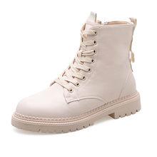 COOTELILI Mode Rits Platte Schoenen Vrouw Hoge Hak Platform PU Lederen Laarzen Lace up Vrouwen Schoenen Enkellaarsjes Meisjes 35 -40(China)
