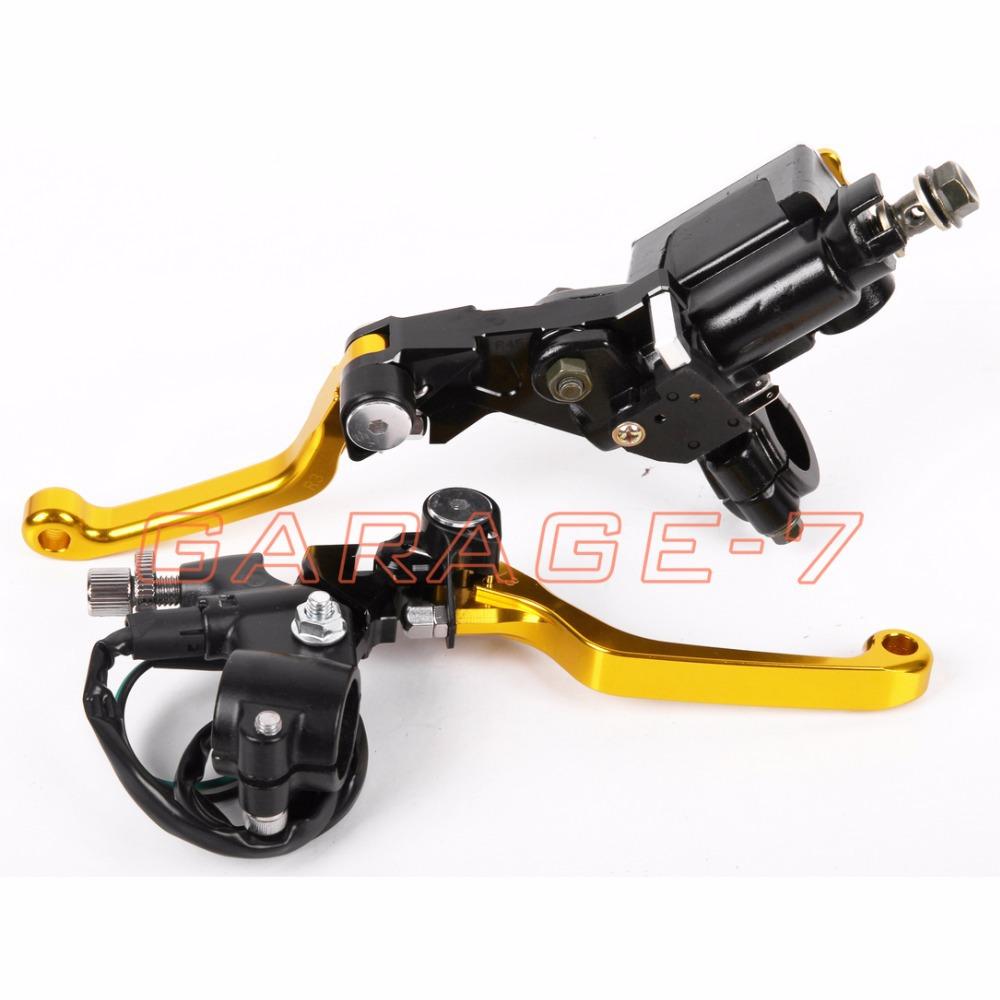 New CNC 7/8 Brake Master Cylinder Pressure Switch Reservoir Levers Dirt Pit Bike Set Yellow For SUZUKI  RM125/250 1996-2003 <br><br>Aliexpress