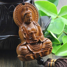 Wood Carving & Buddha Beads Chinese Buddhism Halloween gifts Shakyamuni Statue Sculpture Amulet Car Pendant Netsuke AHJ004(China (Mainland))