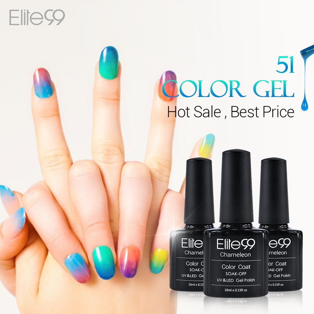 Elite99 Chameleon Temperature Change Color UV Gel Lacquer Professional Beauty Choices Colored Nail Gel Pick One Color from 51(China (Mainland))