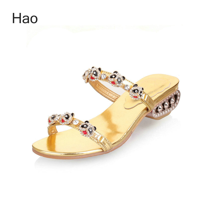 Фотография Panda Rhinestone Embellished Women Flip Flops Genuine Leather Sweet Comfortable Fashion Summer Slippers Gold Black Apricot