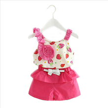 Girl Clothes Sleeveless Strawberry Flowers Sling Clothing Set 2016 Casual Summer Style Children Clothing Kids Clothes Sport Suit