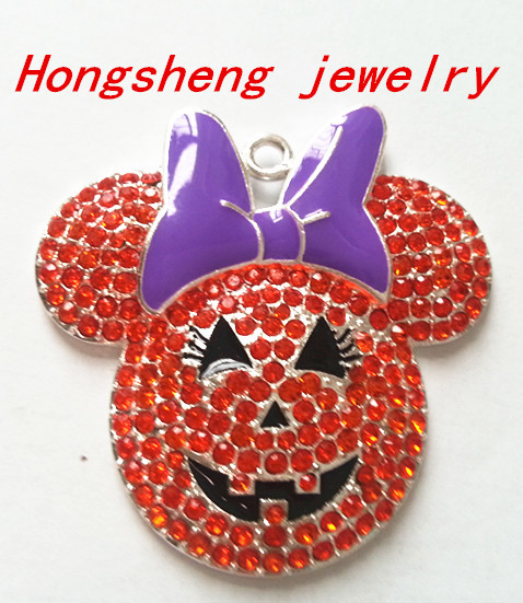 45mm10pcs/lot silver Zinc alloy rhinestones orange Minie head with purple bow Pendants for Jewelry Necklace making (As shown)(China (Mainland))