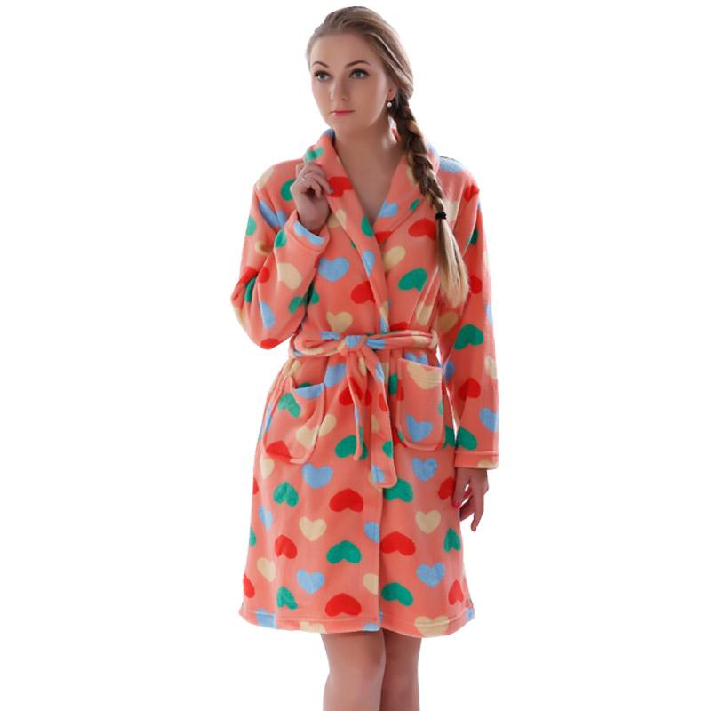 Ladies Winter Autumn Soft Coral Fleece Bath Robe Love Lingerie Nightwear Kimono Warm Sleepwear Bathrobe For Women(China (Mainland))
