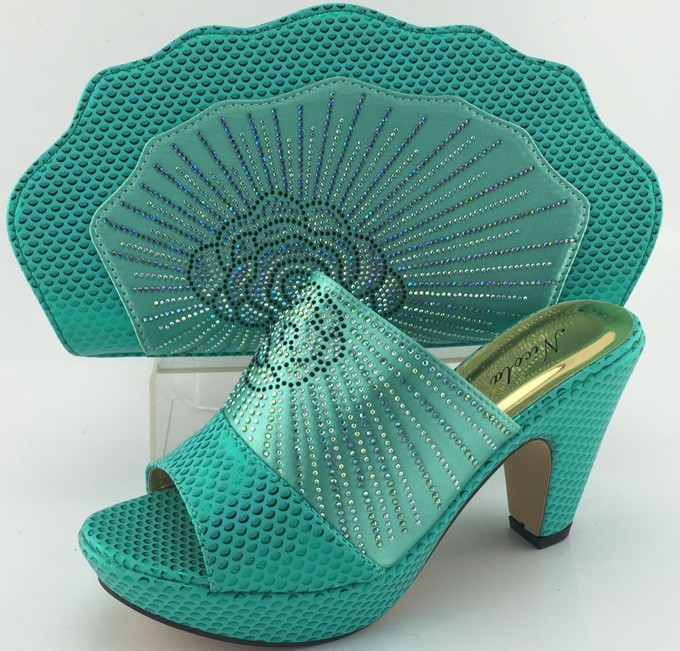 Hot selling African party shoes and bag to match beautiful italy shoes and bag set high heel for lady!4 colors in stock!!MJY1-46