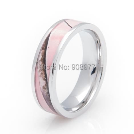 2015 Women's New fashion 6mm Titanium light Pink tree Camo Ring Engagement Ring Camo wedding band(China (Mainland))