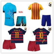 Best quality 2015 2016 futbol jersey SUAREZ NEYMAR JR 2016 ARDA Kids soccer jerseys A INIESTA custom name football shirt(China (Mainland))