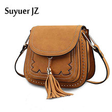 Buy Suyuer Brand 2017 Women Bags Designer New Casual Rivet Tassel Saddle Vintage Scrub Messenger Crossbody Bag Ladies for $26.88 in AliExpress store