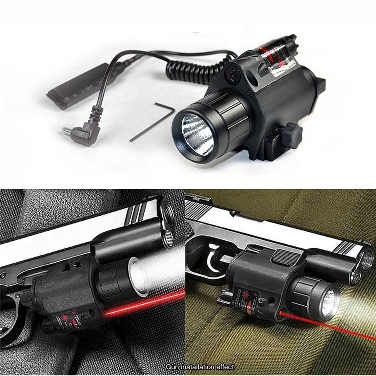 2in1 Tactical CREE LED Flashlight/LIGHT +Red Laser/Sight Combo for Shotgun Glock 17 19 22 20 23 31 37(China (Mainland))