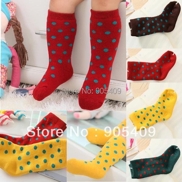 Infants Girls Kids Socks Tube Socks Cotton Winter Thick Dots Free shipping Stock<br><br>Aliexpress