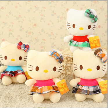 2015 new hot sell sitting height 18cm hello kitty plush toys pure pp cotton Stuffed Dolls Random color free shipping,SS0126(China (Mainland))
