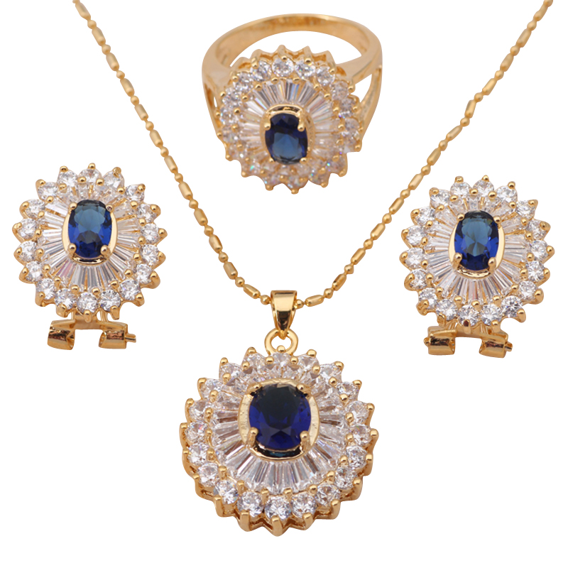 18k yellow gold plated Necklaces & Pendants Topaz Earrings Crystal Sets jewelry Zirconia Fashion Ring sz #7 #5.5 JS182A - Jos fan's store