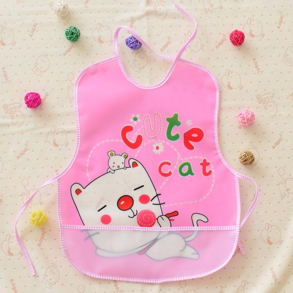 Fashion Pink puppy Cartoon Baby Soft Bibs Waterproof Cartoon Bib Burp Cloths For Children Self font