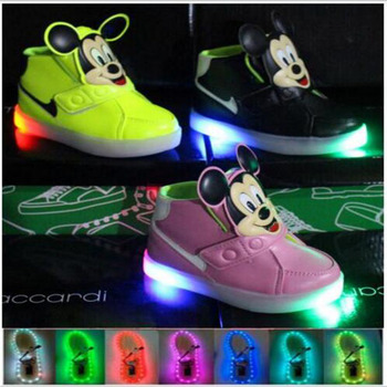 2016 Top fashion LED lighted baby children boys girls shoes hot sales funny cartoon baby kids casual shoes sneakers cute boots