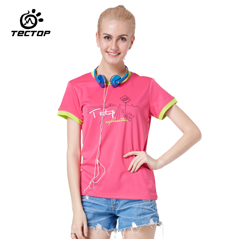 [Tectop] Women Summer Fashion Printed Quick Dry T Shirts Casual Outdoor Sporty T-shirt Woman Soft Short Sleeve T-shirts,5024