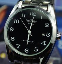 Ganador fully reloj mecánico automático del reloj de mens classic tira de acero calendario recorte para hombre comercial j240