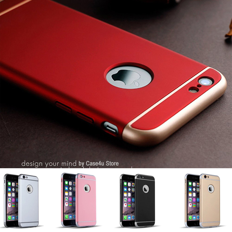 Luxury Metallic Electroplating Full Body Chrome Hard Case Cover for Apple iPhone 6 6s Plus Logo three parts Rose Gold(China (Mainland))