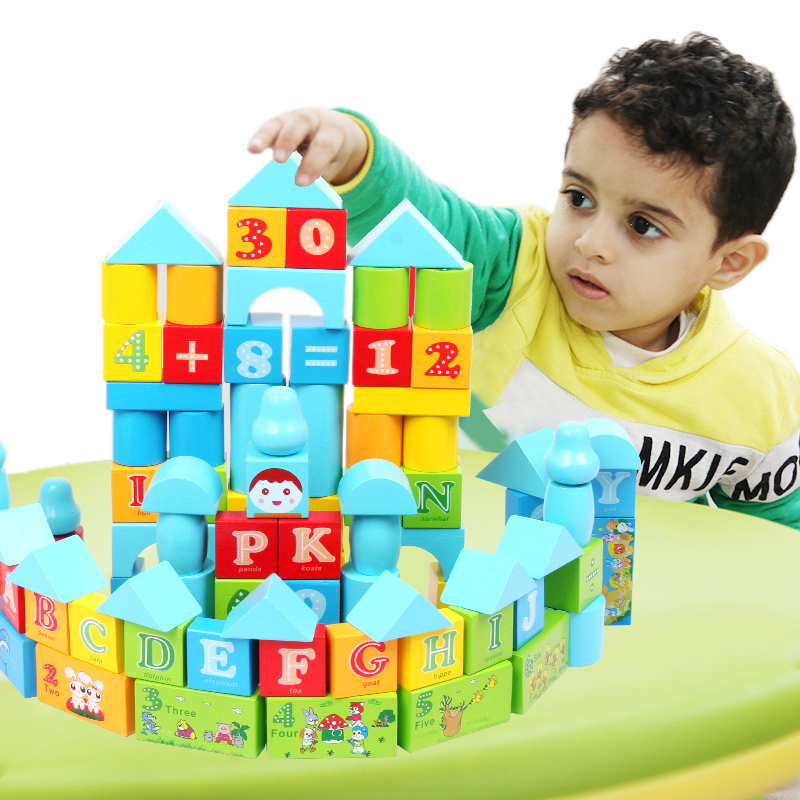 10digital letter animal building blocks baby wool children wood figure toys - beautiful nana's store